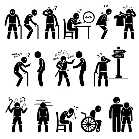 enfermedades mentales: Alzheimer y la demencia de edad avanzada Old Man Figura Stick pictograma Iconos