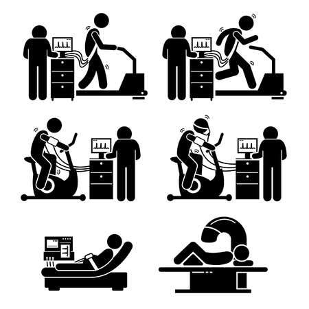 medical evaluation: Exercise Stress Test for Heart Disease Stick Figure Pictogram Icons Illustration