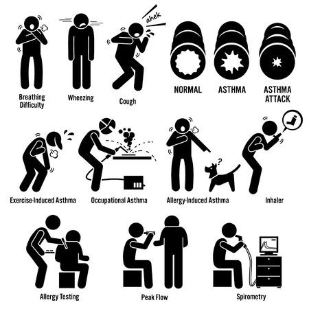 asma: La enfermedad del asma Figura Stick pictograma Iconos
