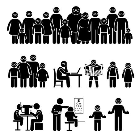 strichmännchen: Menschen Kinder Familie tragende Gläser Strichmännchen-Piktogramm Icons