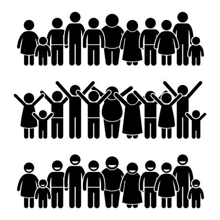 children in class: Group of Happy Children Standing Smiling and Raising Hands Stick Figure Pictogram Icons