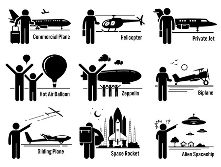 private jet: Air Transportation Vehicles and People Set - Commercial Airplane, Helicopter, Private Jet, Hot Air Balloon, Zeppelin, Biplane, Gliding Plane, Space Rocket, and Alien Spaceship UFO