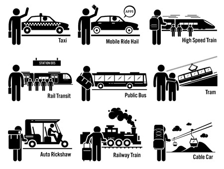 land transportation: Land Public Transportation Vehicles and People Set - Taxi, Mobile Ride Hail, High Speed Train, Rail Transit, Public Bus, Tram, Auto Rickshaw, Railway Train, and Cable Car