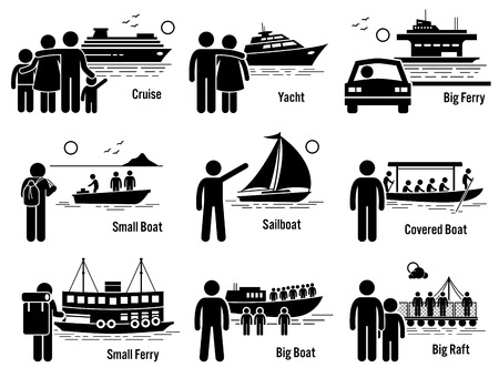 water transportation: Water Sea Transportation Vehicles and People Set - Cruise Ship, Yacht, Ferry, Boat, Sailboat, and Raft