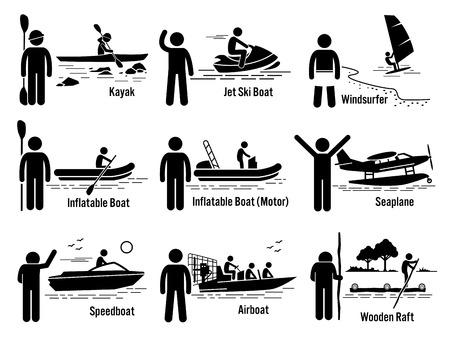 moto acuatica: El mar del agua vehículos recreativos y Personas Set - kayak, jet ski, windsurfer, barco inflable, motora, el hidroavión, lancha rápida, Airboat, y Balsa Vectores