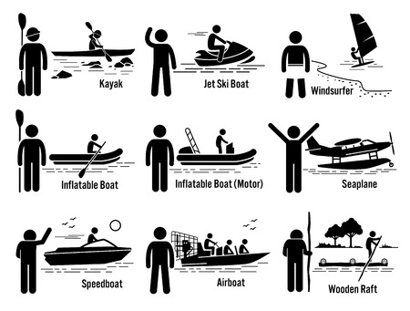 Water Sea Recreational Vehicles and People Set - Kayak, Jet Ski, Windsurfer, Inflatable Boat, Motorboat, Seaplane, Speedboat, Airboat, and Wooden Raft