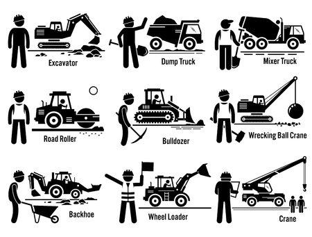 roadwork: Construction Vehicles Transportation and Worker Set Illustration