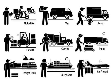 Logistiek Transport Voertuigen Set Vector Illustratie