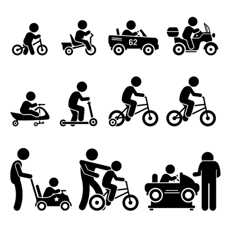 ciclista silueta: Pequeños niños que montan las bicicletas y automóviles de juguete Figura Stick pictograma Iconos Vectores