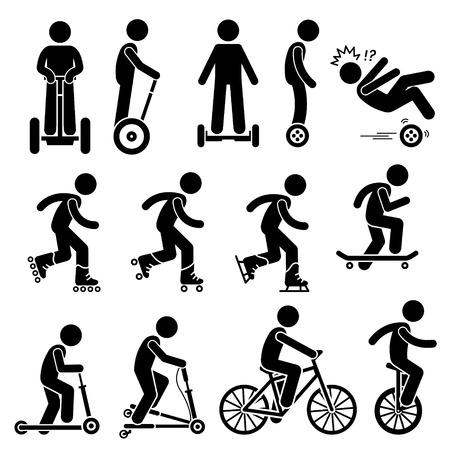 sport bike: Park Ride Vehicles Stick Figure Pictogram Icons