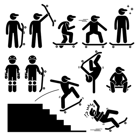 Skateboarder Skating on Skateboard Stick Figure Pictogram Icons Ilustração