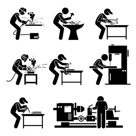 Welder Worker using Metalworking Steelworks Tools and Equipment for Welding Work in Metalwork Workshop Stock Illustratie