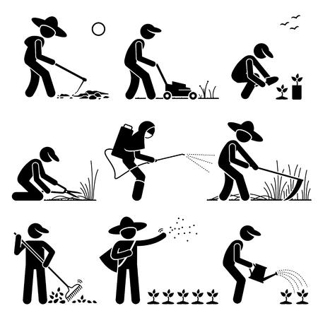 jardineros: Jardinero y agricultor utilizando herramientas y equipos para trabajos de jardinería Vectores