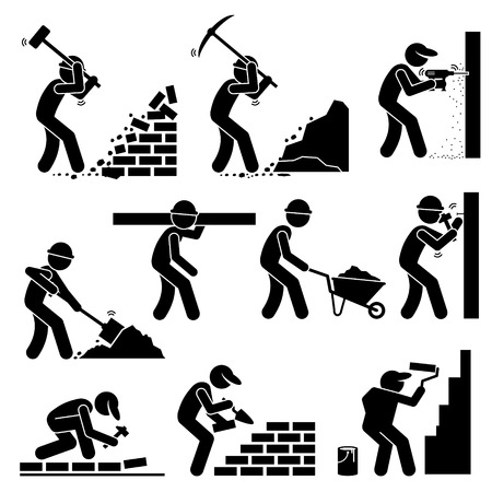 construction industry: Builders Constructors Workers Building Houses with Tools and Equipment at Construction Site
