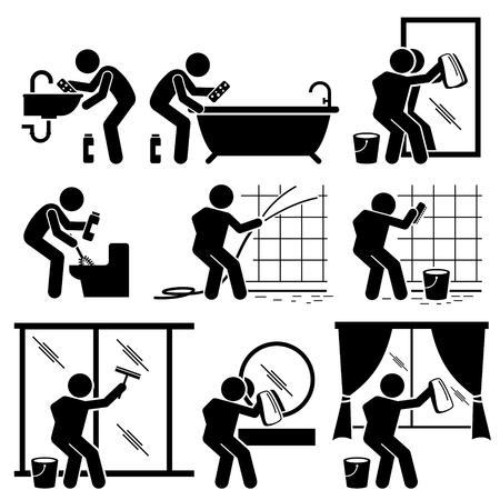 servicio domestico: Hombre de limpieza de baño WC Windows y Espejo