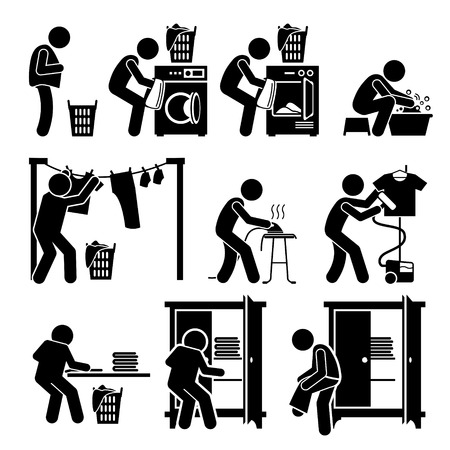 washing clothes: Laundry Works Washing Clothes Pictogram