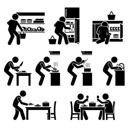 Gotowanie w domu i przygotowywania żywności Piktogram Ilustracje wektorowe