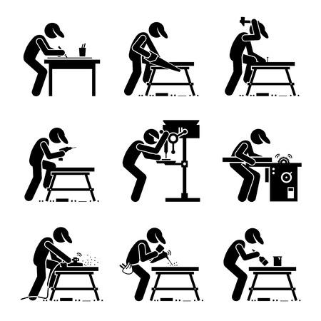 herramientas de carpinteria: Carpenter, utilizando herramientas y equipo de la madera con un taller de trabajo en un taller Vectores