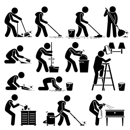 Cleaner Cleaning and Washing House Pictogram Çizim