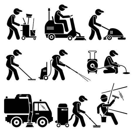 vacuum cleaning: Industrial Cleaning Worker with Tools and Equipment Stick Figure Pictogram Icons Illustration