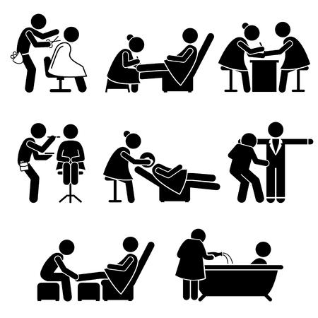 Salón de belleza Servicios artista de maquillaje del balneario del trabajo Figura Stick pictograma Iconos Ilustración de vector