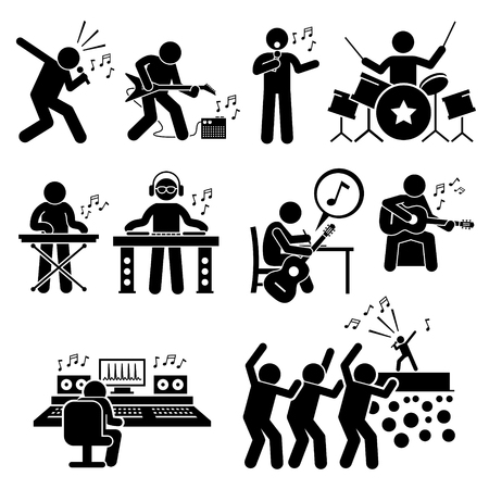 cartoon singing: Rock Star Musician Music Artist with Musical Instruments Stick Figure Pictogram Icons