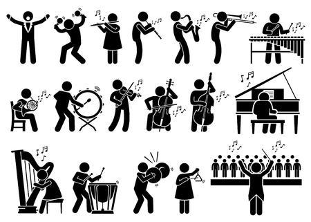 orquesta: Los músicos orquesta sinfónica con los instrumentos musicales Figura Stick pictograma Iconos Vectores