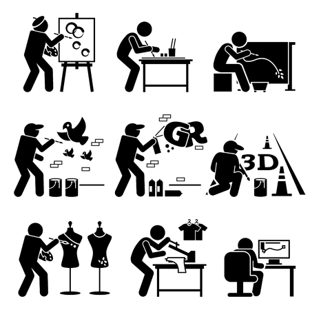 Painter Street Artist Graphic Designer Drawing Arts Stick Figure Pictogram Icons Stock Illustratie