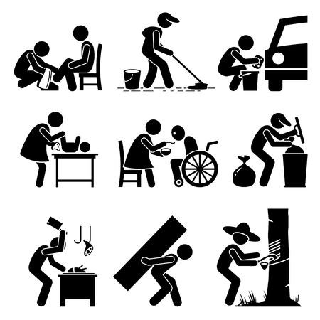 Odd Jobs - Schuhputzmaschine, Hausmeister, Autowäsche, Babysitter, Altenpflege, Garbage Collector, Fleischer, harte Arbeit und Gummizapfer - Strichmännchen-Piktogramm Icons Standard-Bild - 55080263