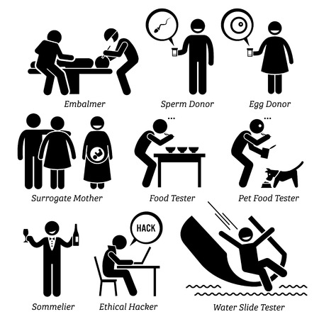 tester: Weird Unusual Odd Job - Embalmer, Sperm Egg Donor, Surrogate Mother, Pet Food Taster, Sommelier, Ethical Hacker, Water Slide Tester - Stick Figure Pictogram Icons Illustration