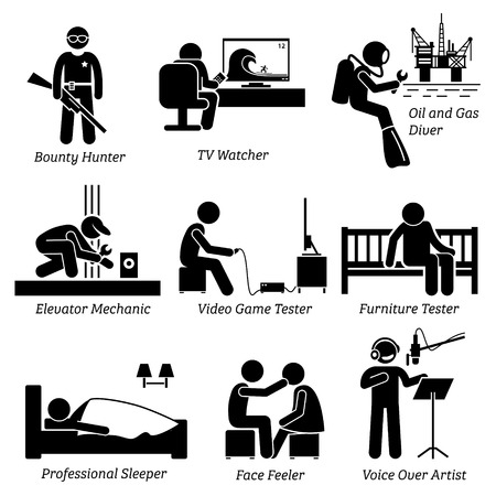 pictogramme: Bizarre Job Odd Insolite - Bounty Hunter, TV Watcher, de pétrole et de gaz Diver, ascenseur mécanique, Testeur de jeux vidéo, tests Meubles, Sleeper, Visage Feeler, Voice Over Artist - Stick Figure Pictogram Icônes