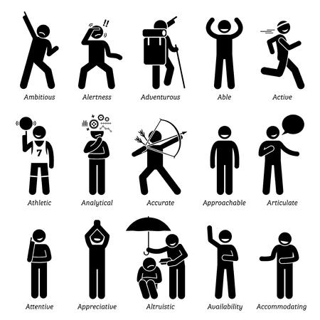Positivas Características buenas de personalidades de caracteres. Figuras del palillo hombre iconos. Comenzando con el alfabeto A.