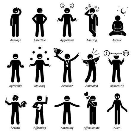 average: Neutral Personalities Character Traits. Stick Figures Man Icons. Starting with the Alphabet A. Illustration