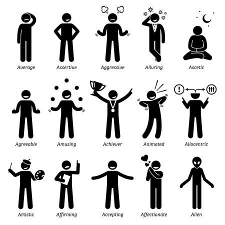 human figure: Personalidades neutros rasgos de carácter. Figuras del palillo hombre iconos. Comenzando con el alfabeto A.