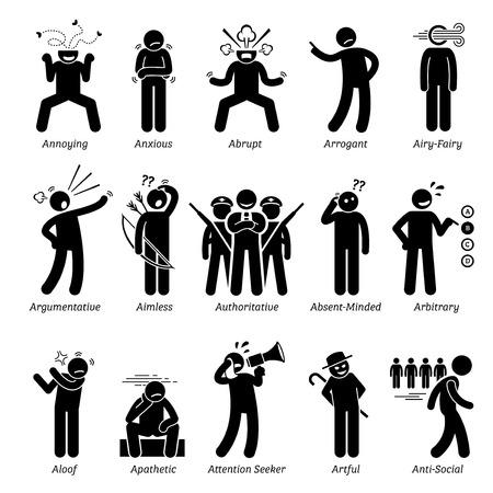 Los rasgos negativos de carácter personalidades malo. Figuras del palillo hombre iconos. Comenzando con el alfabeto A. Ilustración de vector