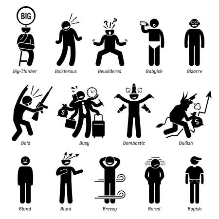 Personalidades neutros rasgos de carácter. Figuras del palillo hombre iconos. Comenzando con el alfabeto B.