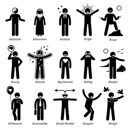 Positive Personalities Character Traits. Stick Figures Man Icons. Starting with the Alphabet B.