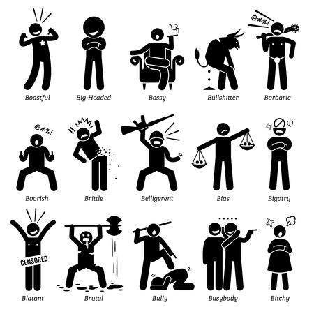 Rasgos de carácter de personalidades negativas. Figuras de palo hombre iconos. Comenzando con el alfabeto B. Ilustración de vector