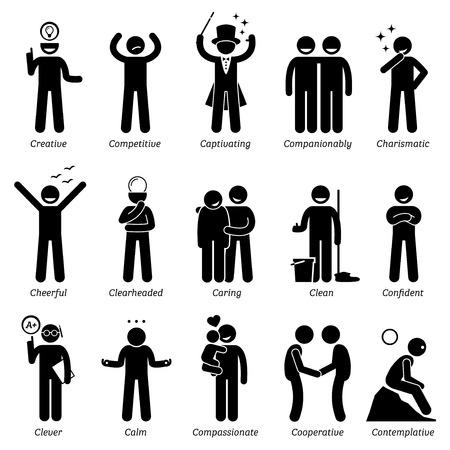 Personalidades positivos rasgos de carácter. Figuras del palillo hombre iconos. Comenzando con el alfabeto C. Ilustración de vector