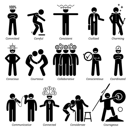 civilized: Positive Personalities Character Traits. Stick Figures Man Icons. Starting with the Alphabet C.