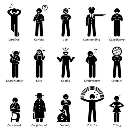 human figure: Personalidades neutros rasgos de carácter. Figuras del palillo hombre iconos. Comenzando con el alfabeto C.