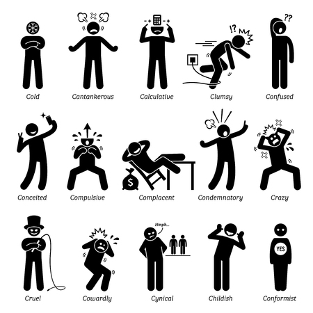 human figure: Personalidades negativos rasgos de carácter. Figuras del palillo hombre iconos. Comenzando con el alfabeto C.
