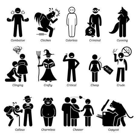 Personalidades negativos rasgos de carácter. Figuras del palillo hombre iconos. Comenzando con el alfabeto C. Ilustración de vector