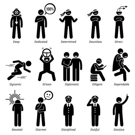 Traços de caráter de personalidades positivas. Bonequinhos homem ícones. Começando com o alfabeto D.