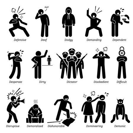 Negative Persönlichkeiten Charaktereigenschaften. Stick Figures Man Icons. Beginnend mit dem Alphabet D.