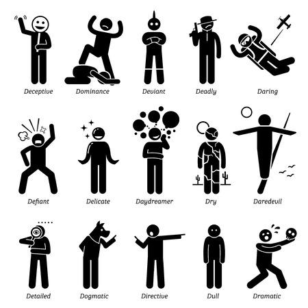 Personalità Neutral tratti caratteristici. Stick Figures Man icone. Partendo con l'alfabeto D.