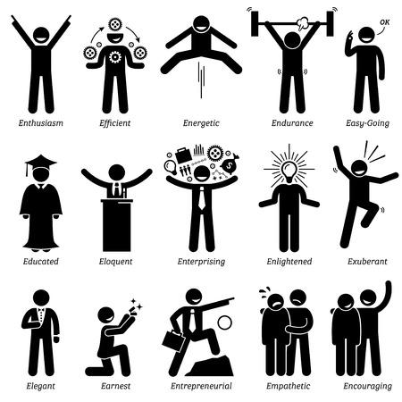 Personalidades positivos rasgos de carácter. Figuras del palillo hombre iconos. Comenzando con el alfabeto E. Ilustración de vector