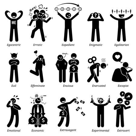 Los rasgos de carácter personalidades negativa y neutral. Figuras del palillo hombre iconos. Comenzando con el alfabeto E.