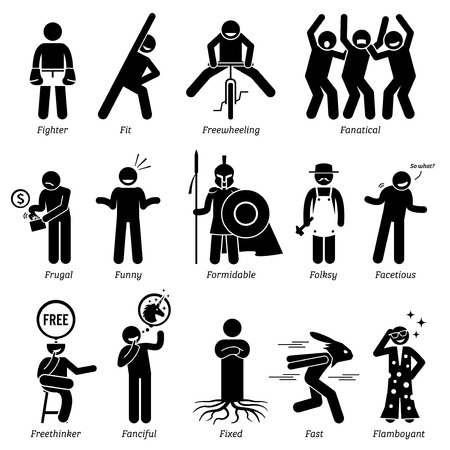 Neutral Personalities Character Traits. Stick Figures Man Icons. Starting with the Alphabet F. Фото со стока - 58706720