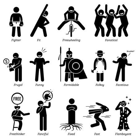 Personalidades neutros rasgos de carácter. Figuras del palillo hombre iconos. Comenzando con el alfabeto F.